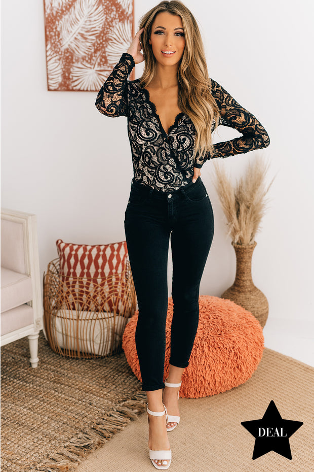 Old Hollywood Floral Lace Long Sleeve Bodysuit (Black) - NanaMacs