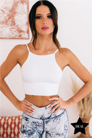 Simply Stated Ribbed Cropped Cami (White) - NanaMacs