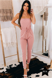 Never Satisfied Strapless Jumpsuit (Mauve) - NanaMacs