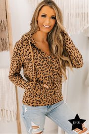 Chasin' That Feeling Leopard Zipper Hoodie (Leopard) - NanaMacs