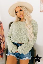 Falls Embrace Popcorn Knit Sweater (Light Sage) - NanaMacs