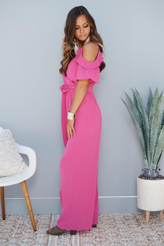 Be Bright Back Jumpsuit (Magenta)