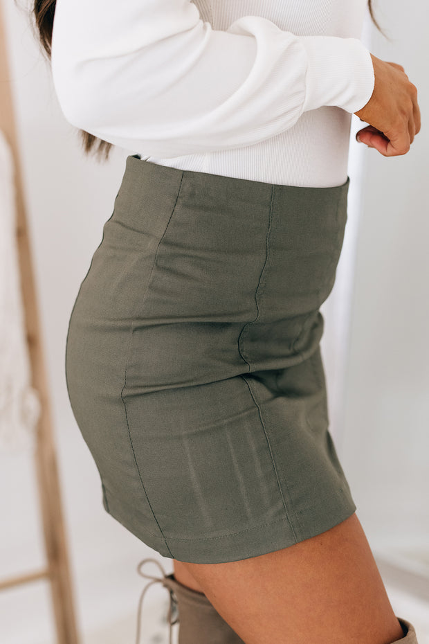 See You Again Mini Skirt (Olive) - NanaMacs