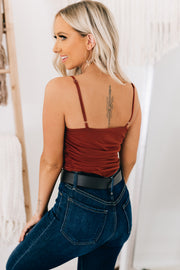 Obsessed With You Ruched Mesh Bodysuit (Rust) - NanaMacs