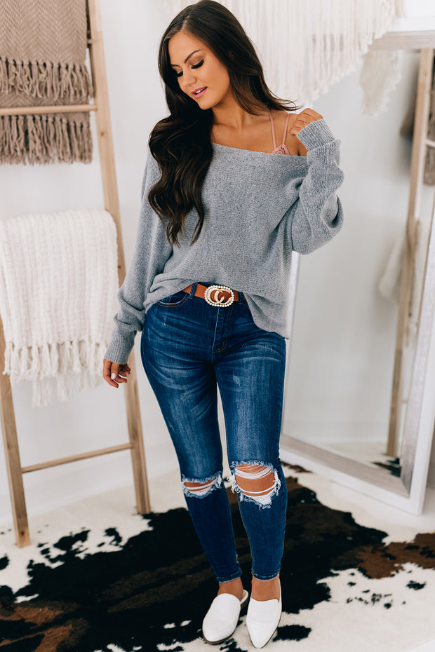 Got Your Love Off The Shoulder Sweater (Heather Grey) - NanaMacs