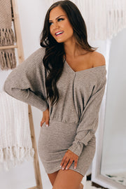 Fully Enamored Dolman Sleeve Sweater Dress (Dark Oatmeal) - NanaMacs