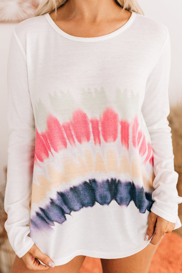 Forget Your Worries Tie Dye Long Sleeve Top (Ivory) - NanaMacs