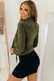 Playing For Keeps Suede Jacket (Olive) - NanaMacs