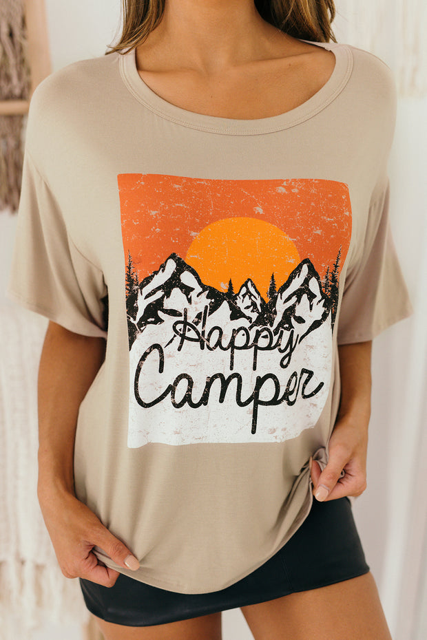 Happy Camper Mountain Graphic Top (Taupe) - NanaMacs