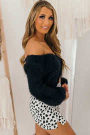 Fuzzy Feelings Twist Front Fuzzy Sweater (Black) - NanaMacs