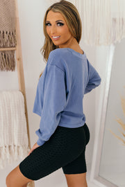 Better Be Sure V-Neck Long Sleeve Top (Indigo) - NanaMacs