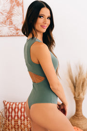 Total Happiness Cut Out Back Bodysuit (Dark Sage) - NanaMacs