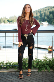 Flare Enough Bell Sleeve Bodysuit (Burgundy)