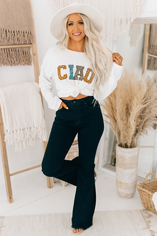 """CIAO"" Patched Letter Top (Ivory) - NanaMacs"