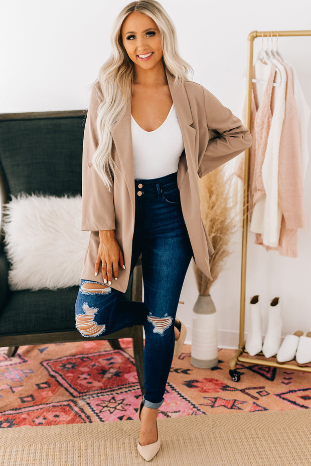 Negotiating Terms Rolled Sleeve Blazer (Taupe) - NanaMacs