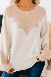 Close Connections Knit Sweater (Ivory/Blush) - NanaMacs
