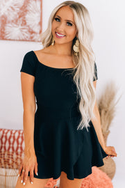 One Call Away Fit And Flare Off The Shoulder Romper (Black) - NanaMacs