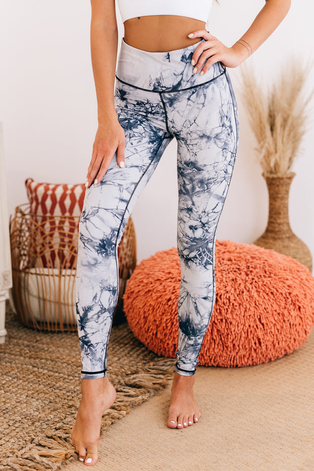 High Intensity Marbled Leggings (Navy Tie Dye) - NanaMacs