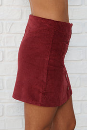 Everything Goes Button Up Skirt (Brick)