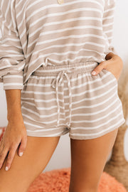 Over Slept Striped Two Piece Set (Oatmeal) - NanaMacs