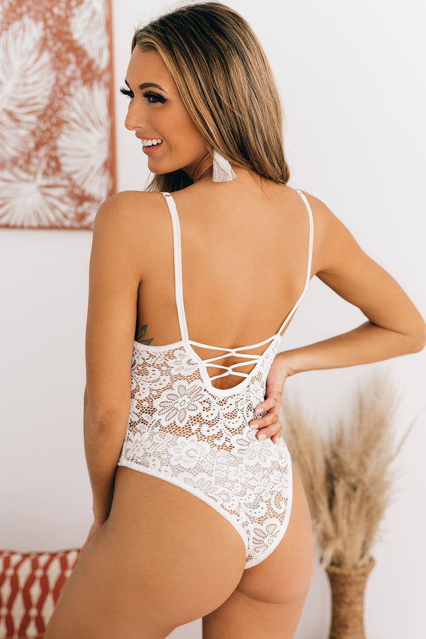 Catch My Interest Sheer Lace Bodysuit (White) - NanaMacs