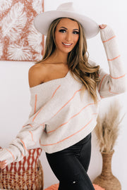 Completely Yours Striped V-Neck Sweater (Oatmeal/Apricot) - NanaMacs