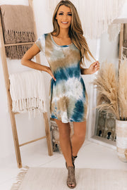 Believe It Or Not Tie Dye T-Shirt Dress (Teal/Camel) - NanaMacs