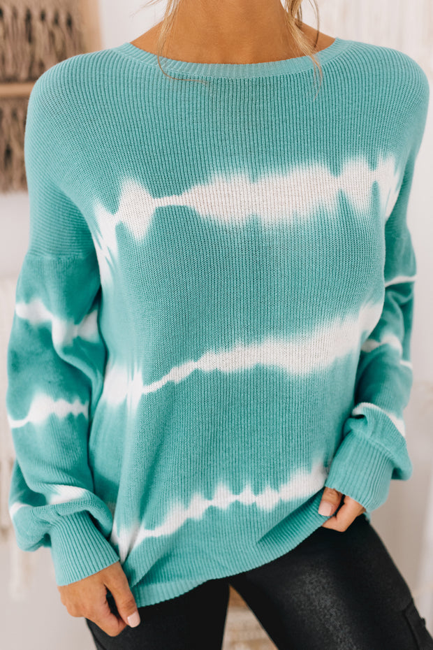 Rhythm Of My Heart Open Back Tie Dye Sweater (Powder Blue/Cream) - NanaMacs