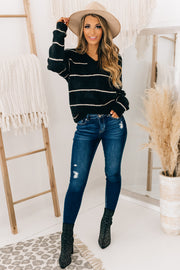 Completely Yours Striped V-Neck Sweater (Black/Cream) - NanaMacs