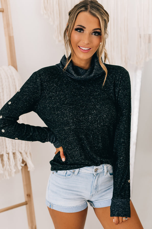 Loosen Up My Buttons Turtle Neck Top (Black) - NanaMacs