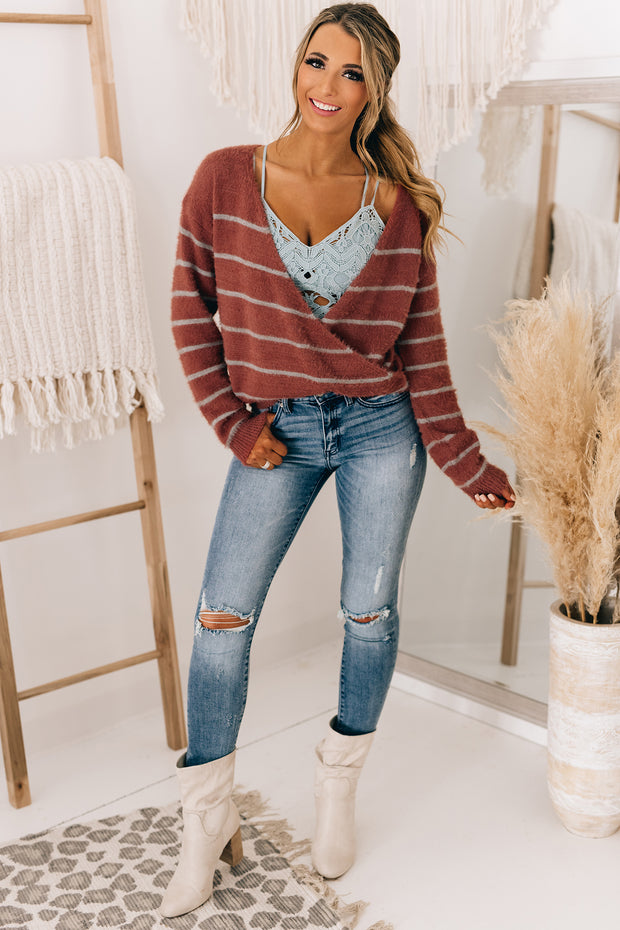 My Saving Grace Fuzzy Surplice Sweater (Rust) - NanaMacs