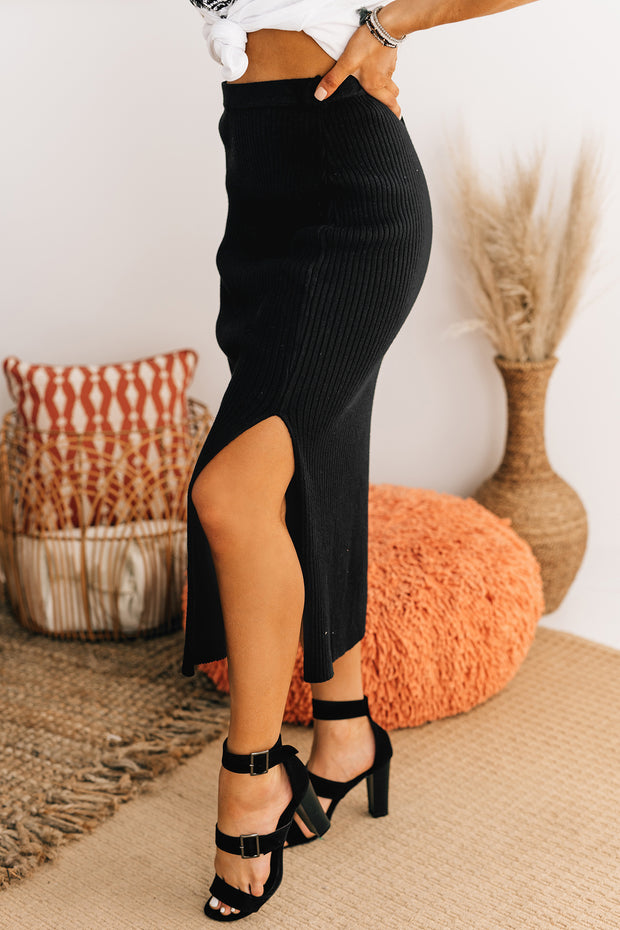 Office Catch Ribbed Midi Skirt (Black) - NanaMacs