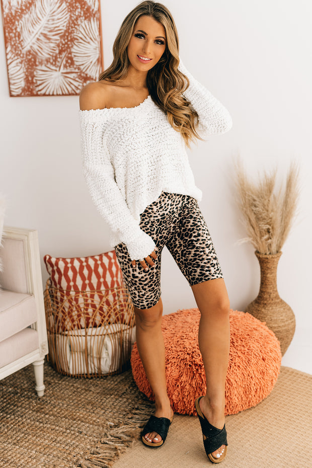 From Time To Time V-Neck Popcorn Sweater (Ivory) - NanaMacs