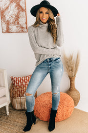 Loosen Up My Buttons Turtle Neck Top (Heathered Oatmeal) - NanaMacs