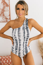 Easy On The Eyes One Shoulder Tie Dye Bodysuit (Black Tie Dye) - NanaMacs