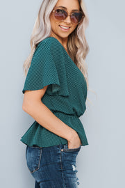 Baylee Polka Dot Top (Hunter/Ivory) - NanaMacs