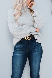 Afternoon Daydream Turtle Neck Sweater (Heather Grey) - NanaMacs
