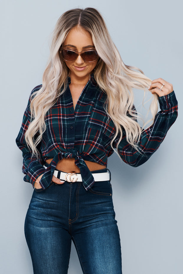 Country Pickin' Cropped Flannel (Navy) - NanaMacs