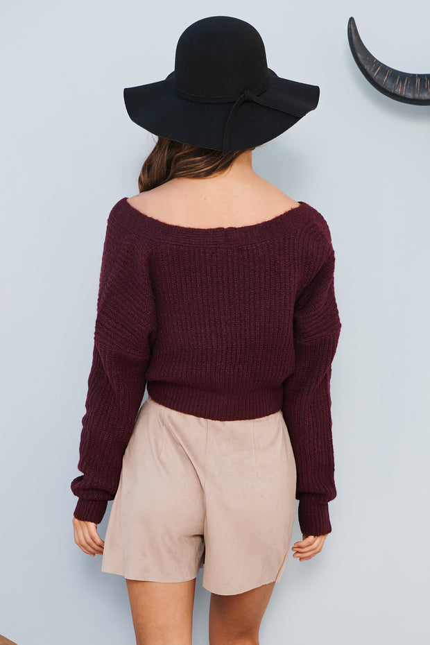 No Room For You Cropped Cardigan Sweater (Burgundy)