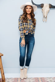 Country Pickin' Cropped Flannel (Mustard)
