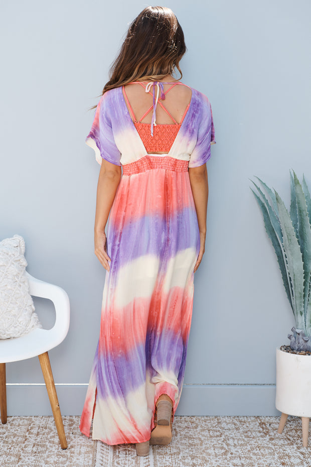 Right Back To You Maxi Dress (Blush/Purple Multi)