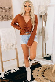 No Boundaries Ruche Waffle Knit Top (Rust) - NanaMacs