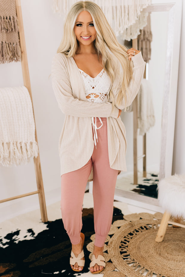 Be True To You Open Front Cardigan (Taupe) - NanaMacs