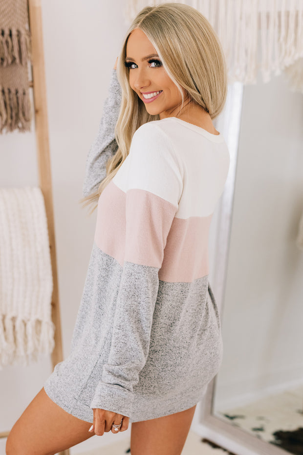 Our Song Color Block Sweater (Heather Grey/Mauve) - NanaMacs