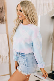 Baby Be Mine Tie Dye Cropped Sweatshirt (Baby Blue Tie Dye) - NanaMacs