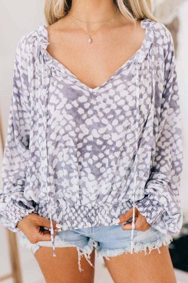 Simply Splendid Spotted Long Sleeve Top (Grey/Ivory) - NanaMacs
