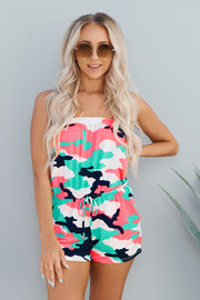 Attention Please Strapless Romper (Neon Army)