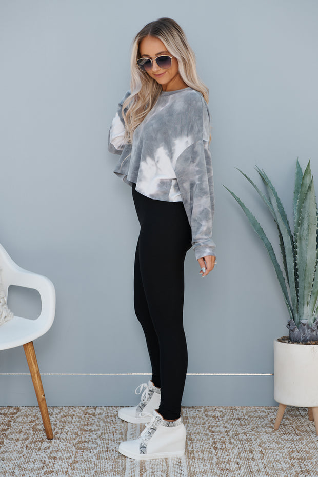 Mix Up Cropped Long Sleeve Top (Dusty Grey)