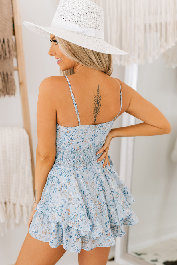 Country Love Tie Front Romper (Blue) - NanaMacs