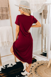 True Desires Knotted High-Low Dress (Burgundy) - NanaMacs
